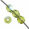 Czech Fire polished 4mm Olivine Aurora Borealis